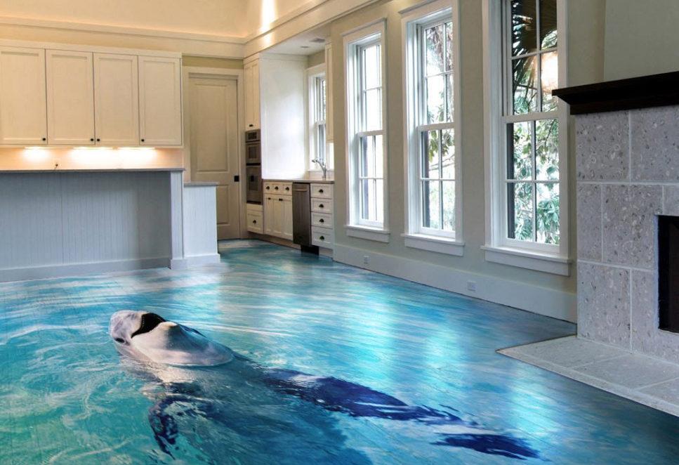 sol avec décoration d'une photo de dauphin