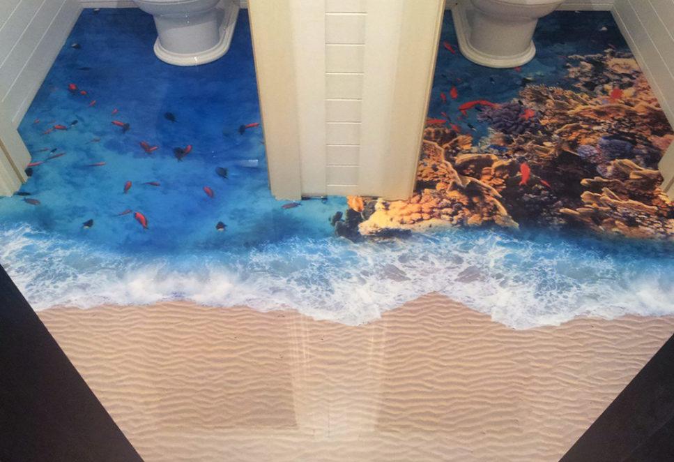Décor de sol de toilettes visuel fond marin