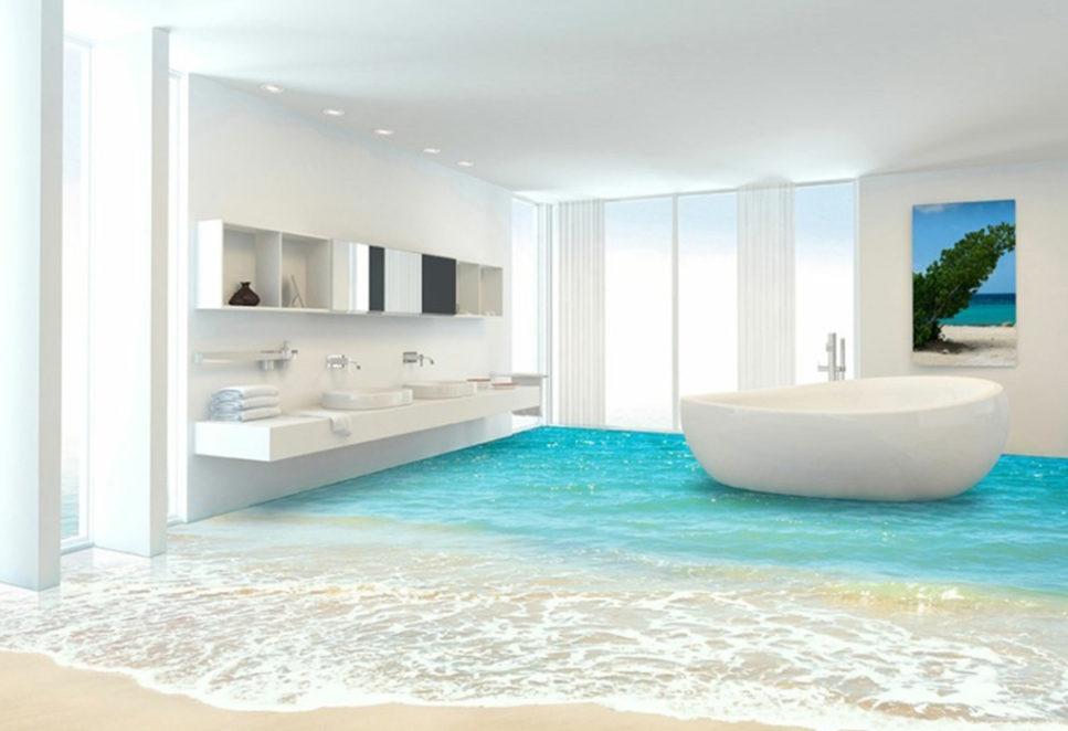 sol aspect plage dans une salle de bain